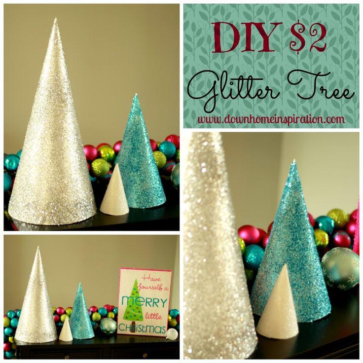 DIY $2 Glitter Trees - Down Home Inspiration