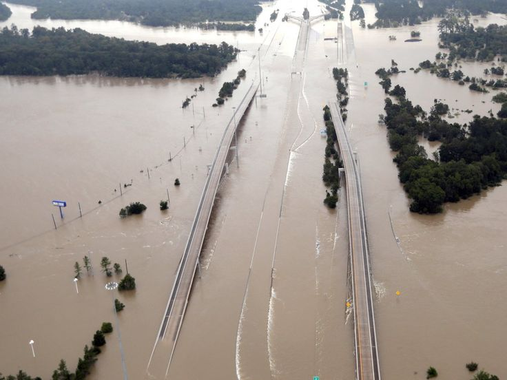 Interstate 69, which runs through Houston, was almost entirely submerged on Tuesday near Humble, Texas.