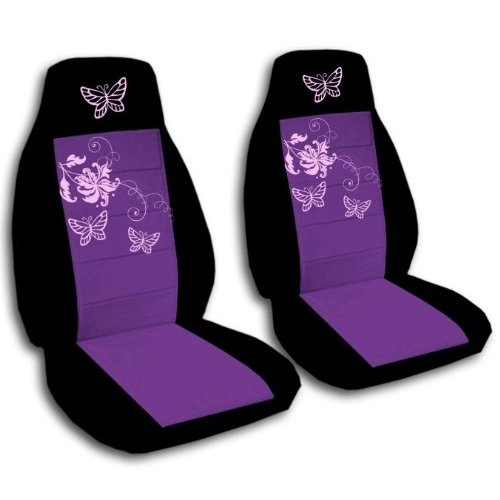 Black N Purple Butterfly Seat Covers
