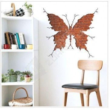 Samolepka na zeď - Otisk motýla v cihlové zdi