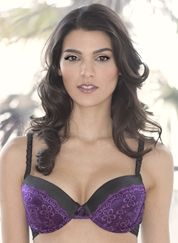 Atomic Obsession Liquid Filled Gel Bra - Black With Purple Lace