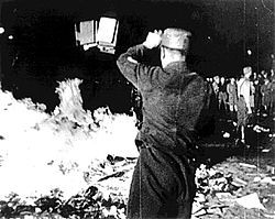 "On 10 May 1933, Nazis in Berlin burned works by leftists and other authors considered ""un-German"", including thousands of books looted from the library of Hirschfeld's Institut für Sexualwissenschaft."