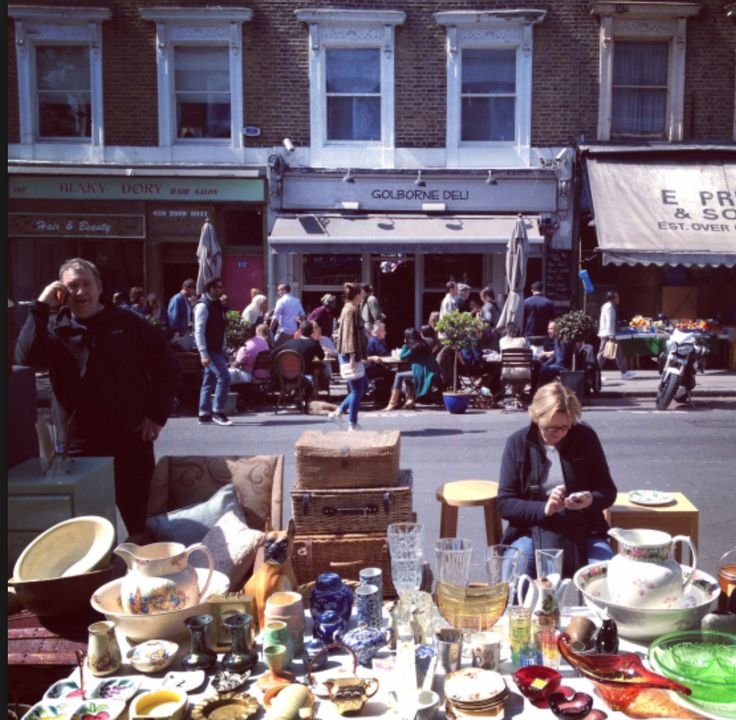 Friday Flea Market in Goldbourne Road. Worth a look - great bargains to be had. If you like shopping without knowing exactly what you'll find, you'll love Portobello and Golborne market. It's real London with loads of character, a melting pot of people from all over the world, treasure and bargains to discover.