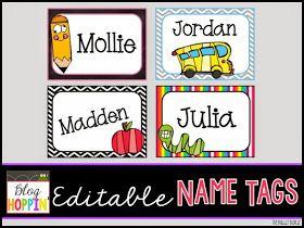 Blog Hoppin': Editable Name Tags Freebie                                                                                                                                                      More