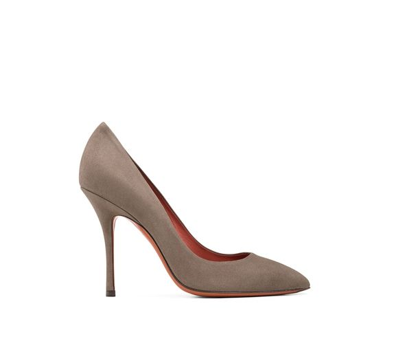 SANTONI - Womens decollétes in sand colour suede stiletto heel. Made in Italy.