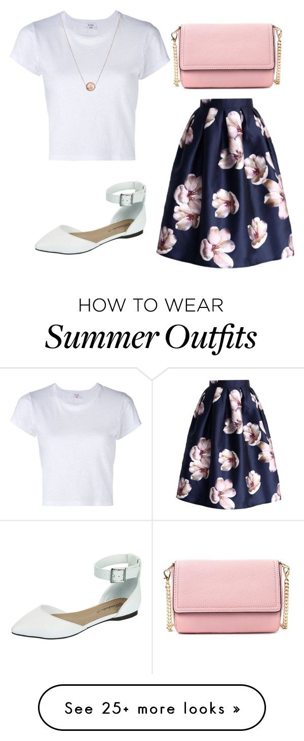 """white t-shirt and floral skirt summer outfit"" by women-outfits on Polyvore featuring RE/DONE and Breckelle's                                                                                                                                                                                 More"
