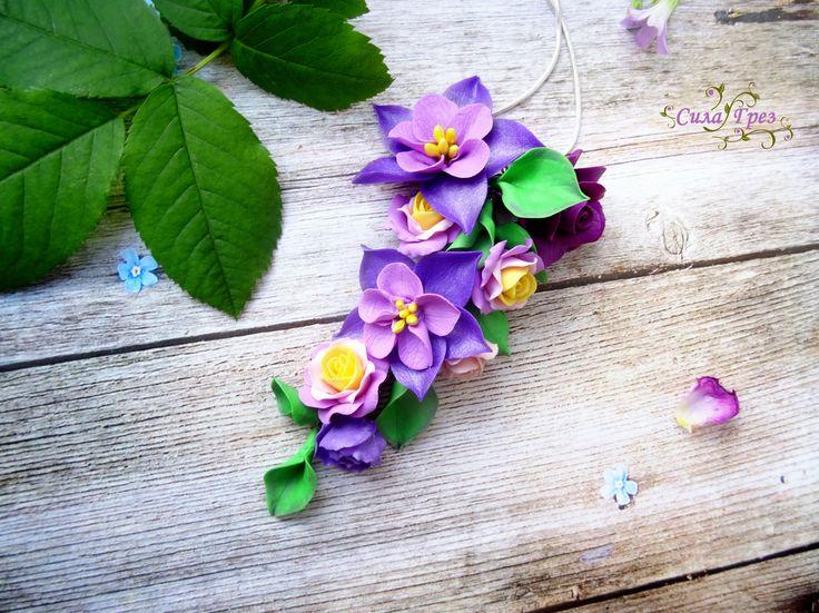 """Кулон """"Purple petal"""" (Пурпурный лепесток) - ручная работа"""