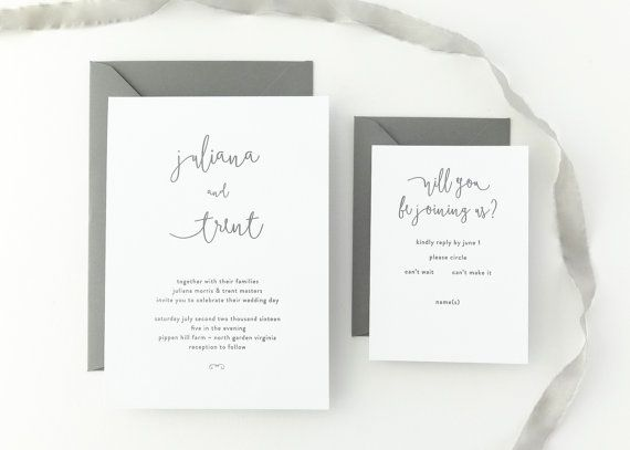 PAPER SAMPLES Juliana Simple Wedding Invitation / Save the Date / Rustic Wedding Invitation / Calligraphy / Letterpress Wedding Invitation