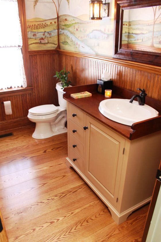 Vintage inspired bath with red oak wood floor and narrow for Hardwood floor in bathroom