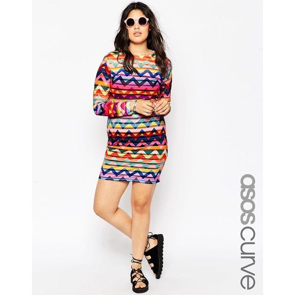 ASOS CURVE Festival Dress in Chevron Print ($31) ❤ liked on Polyvore featuring dresses, multi, plus size, white chevron dress, women plus size dresses, chevron print dress, chevron striped dress and plus size white dress