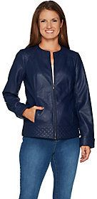Denim & Co. As Is Studio by Faux Leather Jacket with Quilting Detail