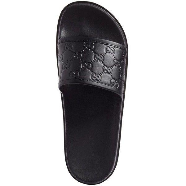 gucci slides black. men\u0027s gucci \u0027pursuit treck\u0027 slide sandal ($350) ❤ liked on polyvore featuring slides black