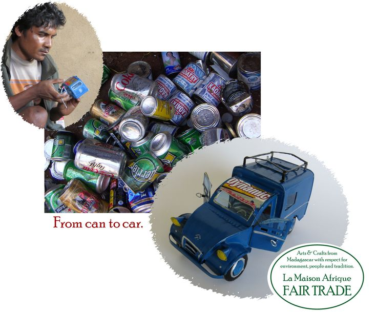 Collected cans becomes cars, candlesticks etc Fair Trade crafts.  #Christmas gifts with #Craft skills, #poverty alleviation and #environmental care included.