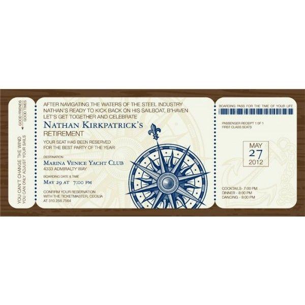 13 best Deanu0027s Retirement images on Pinterest Retirement - best of invitation template boarding pass