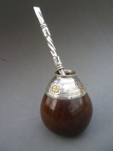 Antique Argentine Sterling Silver & Gourd Yerba Mate cup & bombilla