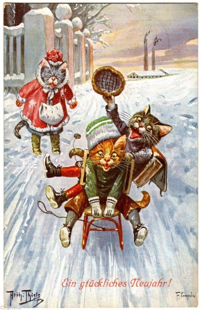 Postcard Thiele Cats Sledding