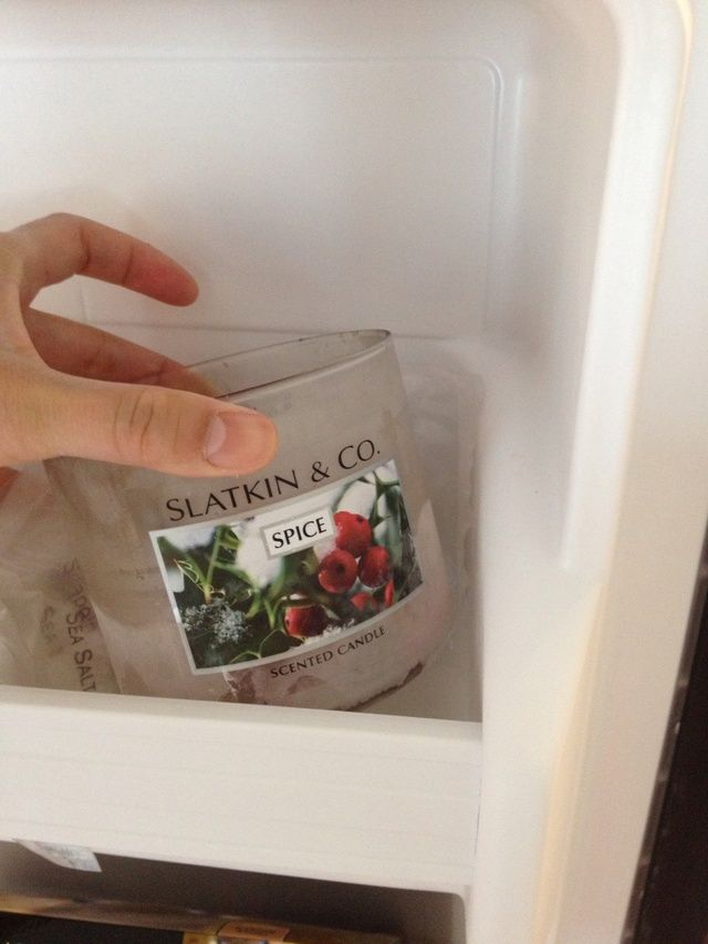Once you're done with the candle jar, it'll have a little bit of candle left. Put the jar inside your freezer. Let it sit for at least an hour.