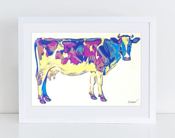Curious cow art  cow serigraph  cow art  animal print