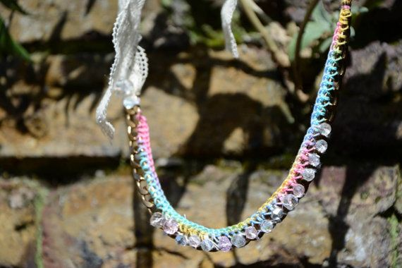 Jewellery Necklace Crystal Rainbow Lace