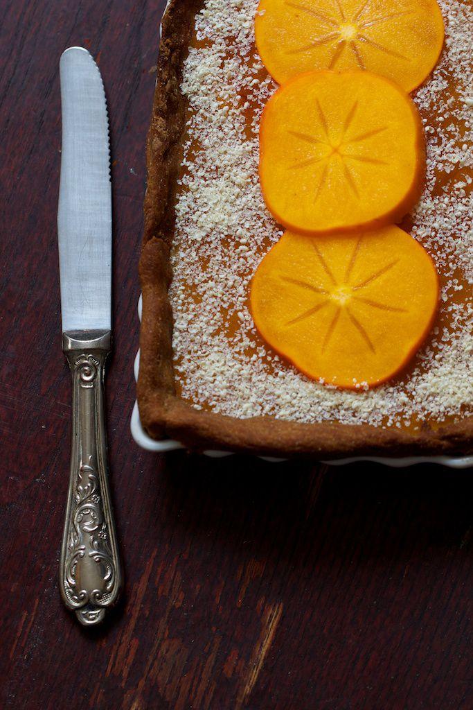 Chaudron pastel : {Tarte vanillée aux kakis} sans gluten et vegan