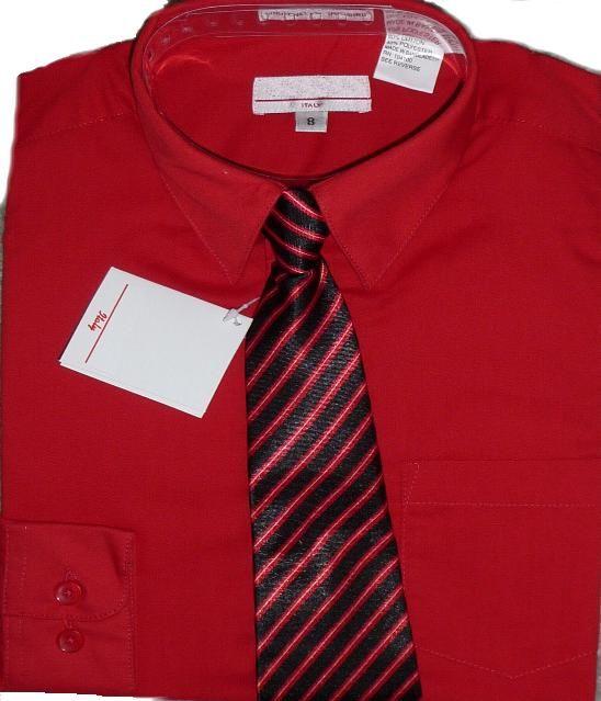 Boys Red Dress Shirt With Tie Boys Dress Shirts