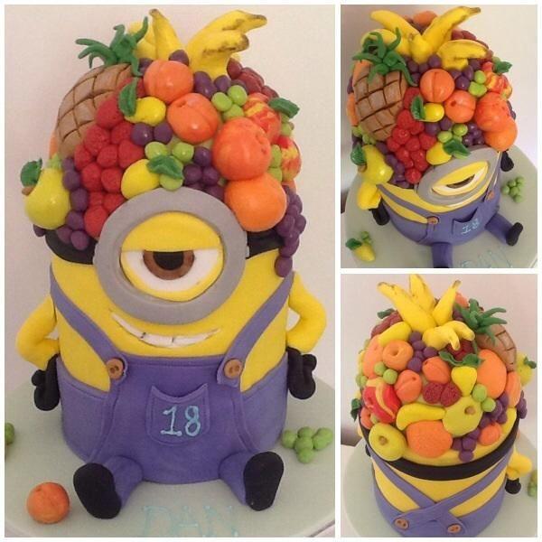 Fruit Head Minion Cake