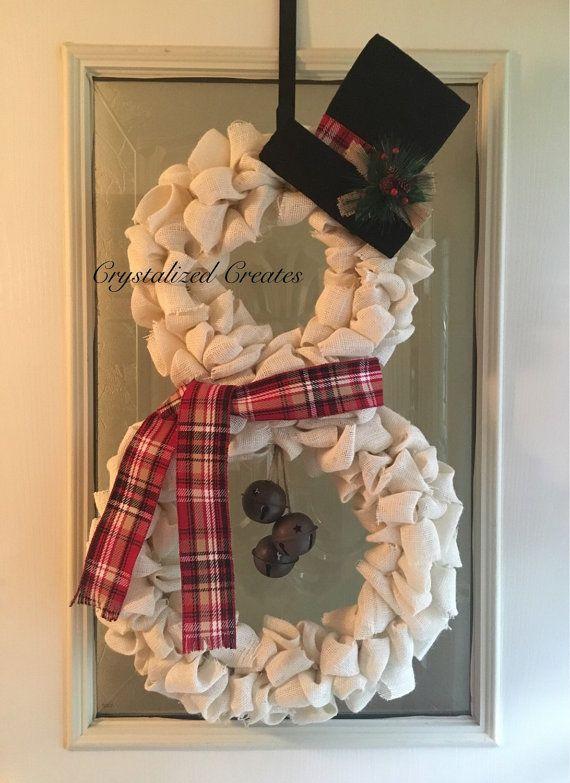 White Burlap Snowman Wreath Christmas Wreath by CrystalizedCreates