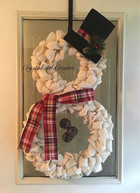 White Burlap Snowman Wreath Christmas Wreath by CrystalizedCreates