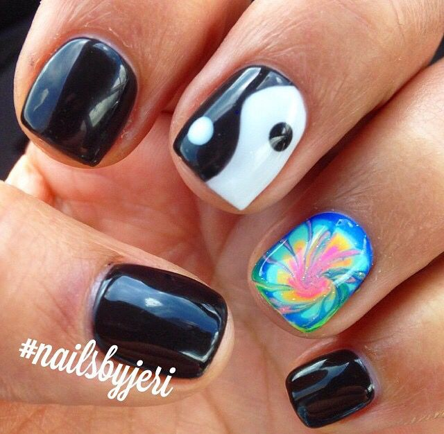 Tie dye nails with yin yang