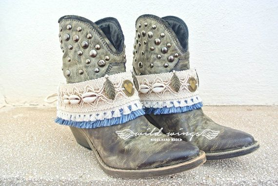 Boho Boot Cuffs,Ethnic boot,tribal boot cuffs,Boot fringe,Boot wraps,Boot Bracelet,Boot Accessories,boho chic,barefoot boots,Boot decoration