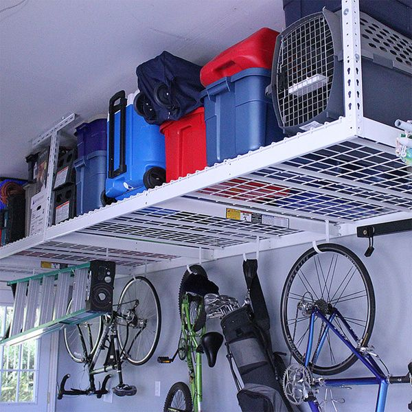 This overhead garage storage rack fits nearly any garage and features a full 600 pound capacity and adjustable distance from the ceiling of 12 to 45 inches. SafeRacks combines industrial grade steel,