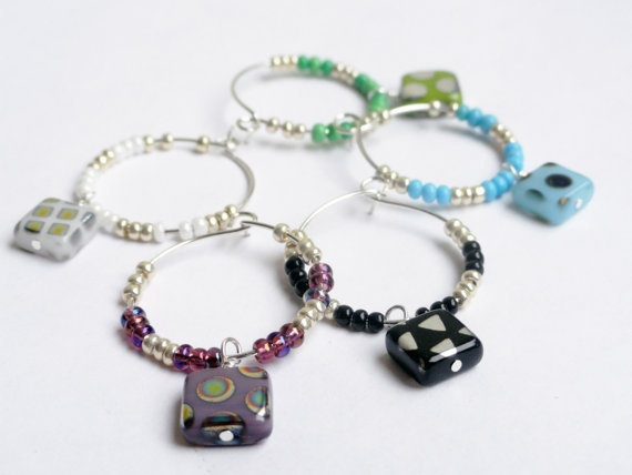 Square glass wine charms x 5 multi color by InternationalChef, $17.50