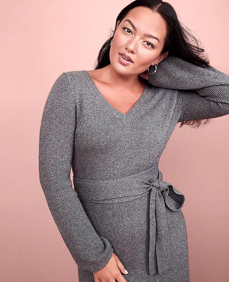 d121d2d39b0 Tie Waist V-Neck Sweater Dress
