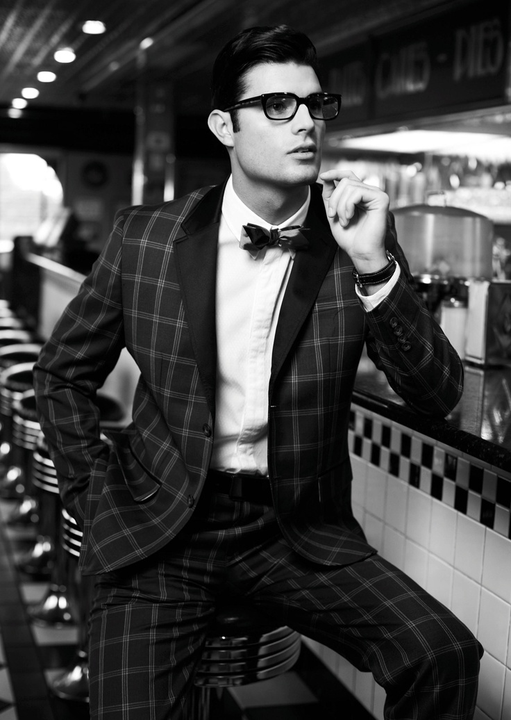 Checked plaid suit and bow tie