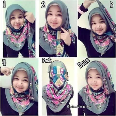 Tutorial Hijab Segitiga Untuk Wajah Bulat Yang Simple - Cara Memakai Jilbab Segi Empat Kreasi Terbaru