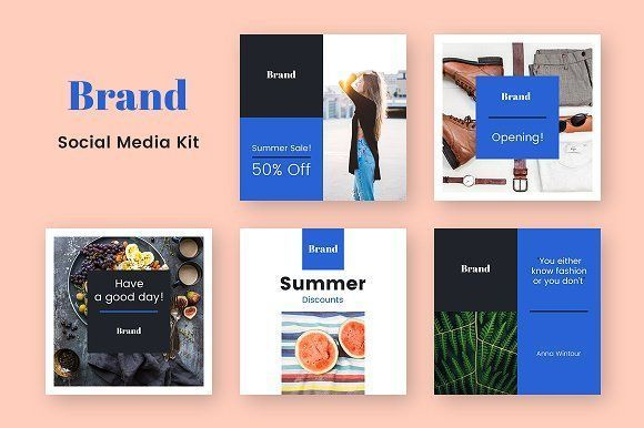 Brand Social Media Kit by uispot on @creativemarket Social media creative design posts for promotion marketing design templates. Use it for quotes, tips, photos, etiquette, ideas, posts or for presentation your business agency, products sales or designs. Ready to use on Instagram, Pinterest, Facebook, Twitter your Blog or Website.