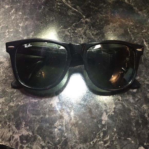 Ray Bans Wayfarer (authentic) Purchased at Sunglasses Hut. Tilted ray ban wayfarer sunglasses RB2140. Reduced price on pp Ray-Ban Accessories Glasses