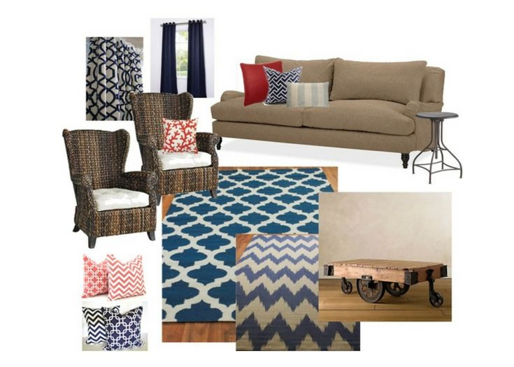 Living Room Inspiration Board Pottery Barn Sofa | Pier One Wicker Chairs |  Navy Blue U0026 Part 55
