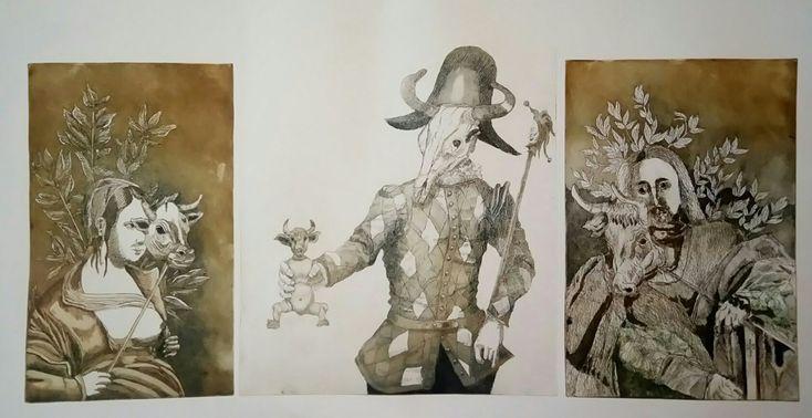 """Zeus and Pasifae"", etching and aquatint, 75cmX55cm"