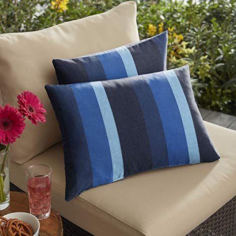 Mozaic Amps116885 Sunbrella Stripe Indoor Outdoor Lumbar Pillow Set
