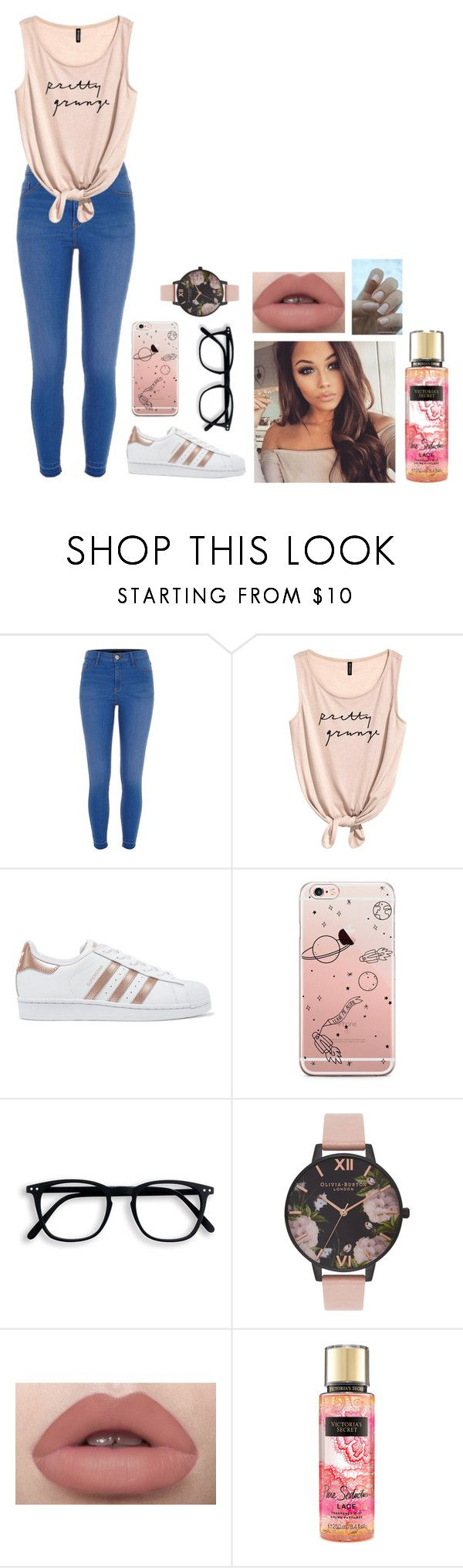"""""""Pastel Pink"""" by official-jessica ❤ liked on Polyvore featuring River Island, adidas Originals, Olivia Burton and Victoria's Secret"""