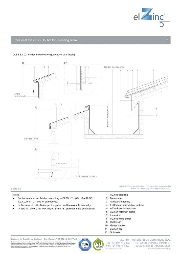 Ventilated Hidden Eaves Box Gutter Detail In Zinc Box Gutter Gutter Zinc Roof