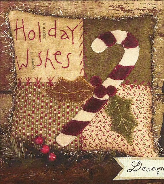 Primitive Folk Art Wool Applique Pattern:  DECEMBER - PATCHWORK PILLOW. $5.00, via Etsy.