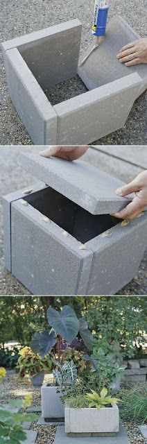 DIY concrete planter box. I think I would paint the concrete a fun colour to liven up the yard :)