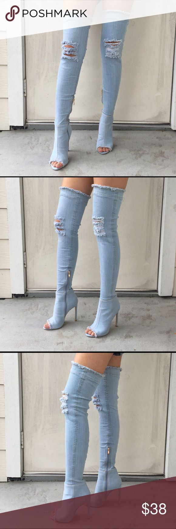 Denim Thigh High Boots Denim Thigh High Boots by UK brand MissPap. Size US 7, UK 5. Worn once for styling purposes. In a great condition. I've added a photo styling them with a gray hoodie. Great whether dressing it up or down! MissPap Shoes Over the Knee Boots