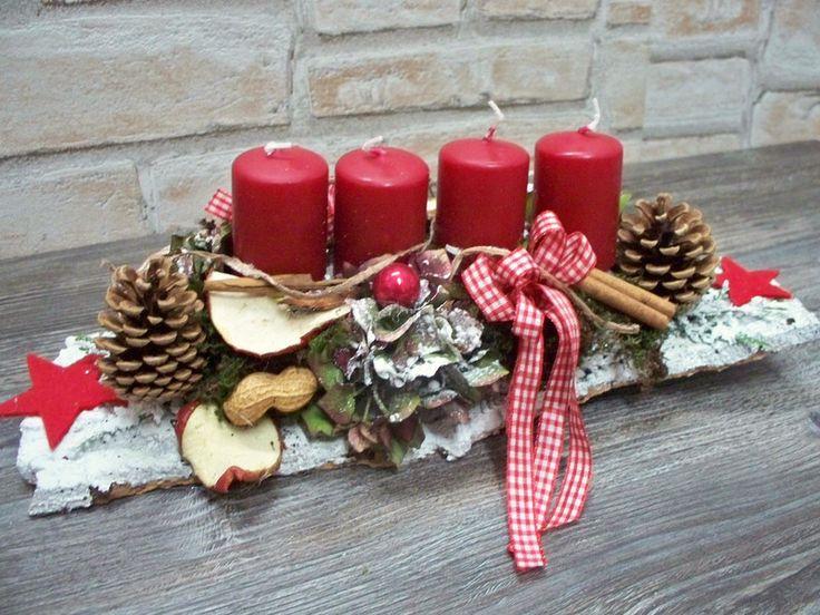 Adventsgesteck auf weißer Rinde,rot-weiß,Landhaus von ...die mit den Blumen tanzt... auf DaWanda.com