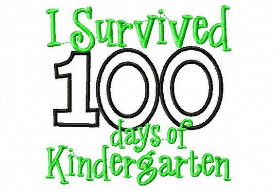 I survived 100 days of Kindergarten embroidery design 5X7