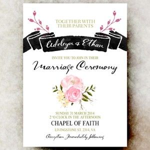Black pink wedding invitation - printable wedding invitation