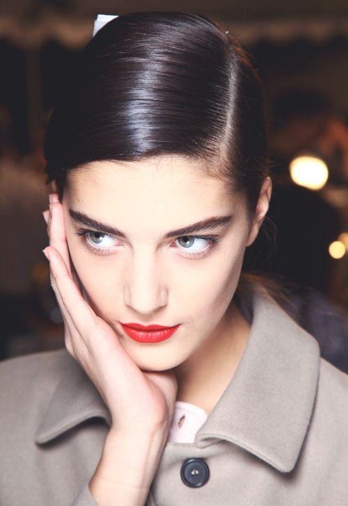 women: Red Lipsticks, Deep Side Parts, Hair Colors, Dark Hair, Marc Jacobs, Fall 2012, Hair Makeup, Katryn Kruger, Hair Style