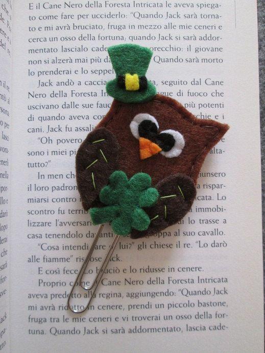 Irish Owl Bookmark - St Patrick's day bookmark - felt bookmark/ paper clip - Planner accessories